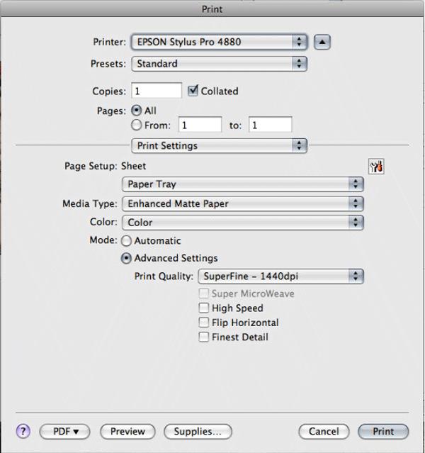 profil icc papier epson